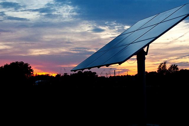 solar panel at night